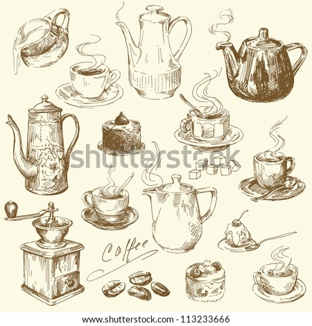 coffee collection - hand drawn illustration - stock vector