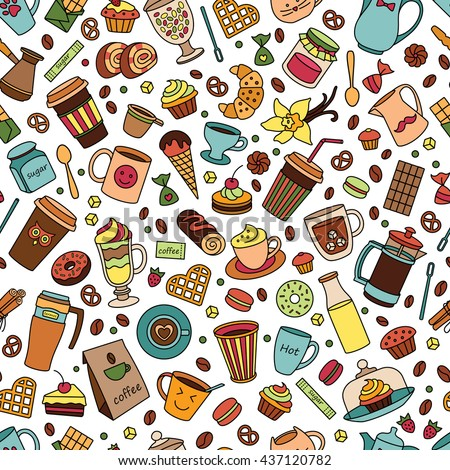 stock vector coffee color seamless pattern line many object isolated elements food and drinks hand drawn 437120782 - Каталог — Фотообои «Еда, фрукты, для кухни»
