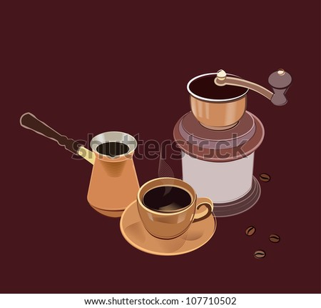 coffee composition of Coffee Cup, Coffee Grinder and mug - stock vector