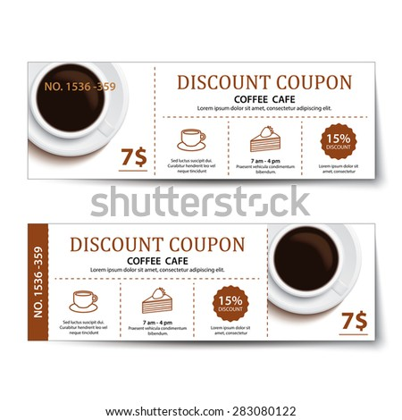 coffee coupon discount  template design. - stock vector