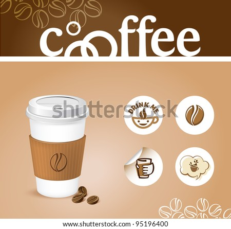 coffee creative background - coffee cup with stickers - stock vector