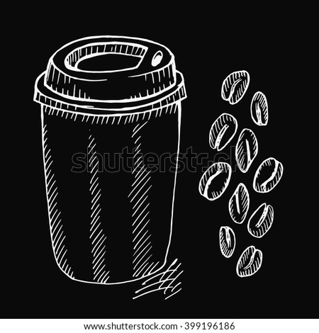 Coffee cup and beans on black background. Free hand drawn. Vector illustration.