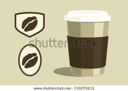 Coffee cup and coffee grains