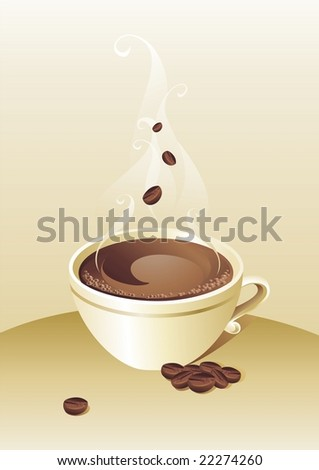 Coffee cup and grains on golden background