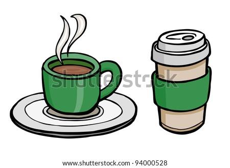 Coffee cup and mug cartoon illustration design vector - stock vector