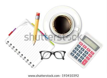 Coffee Cup and Notebook Calculator - stock vector