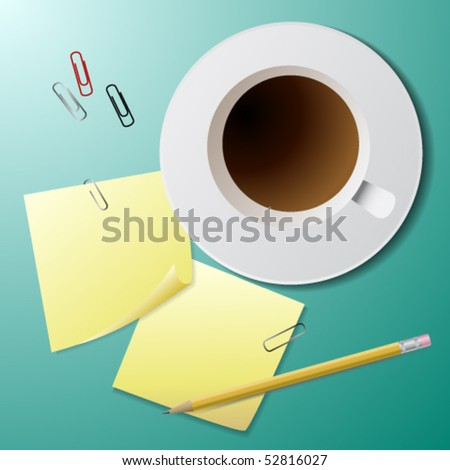 Coffee cup and some stationery - stock vector