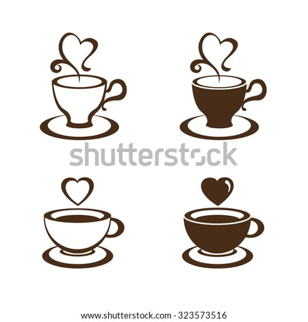 coffee cup and tea cup vector - stock vector