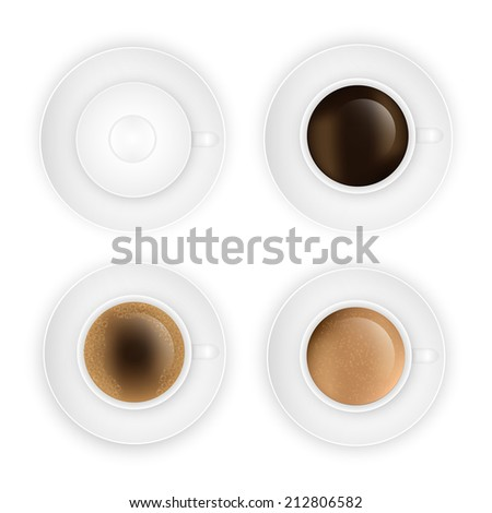 coffee cup assortment top view collection.  Vector eps10 illustration - stock vector