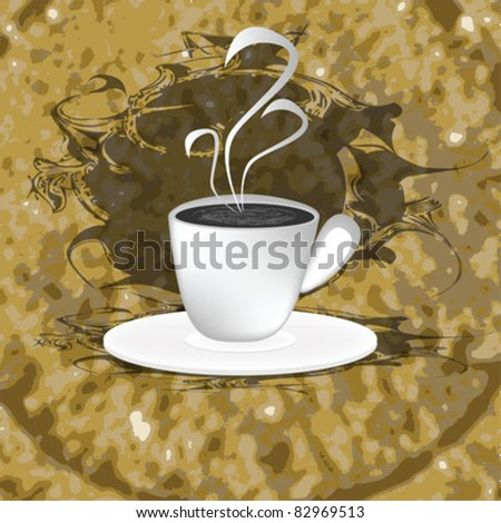coffee cup background brown - stock vector