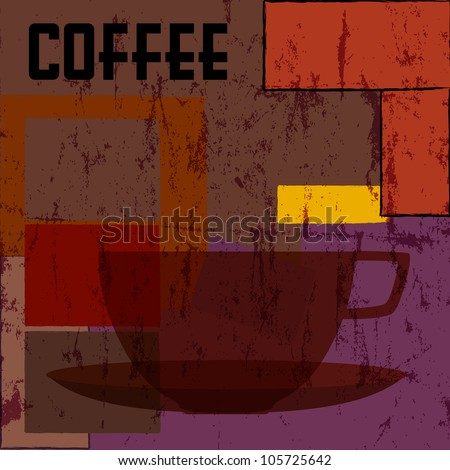 coffee cup background, design template,  free copy space - stock vector