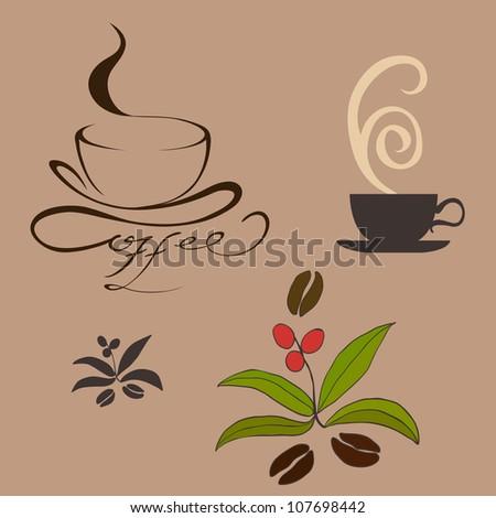 coffee, cup, bean. vector illustration - stock vector