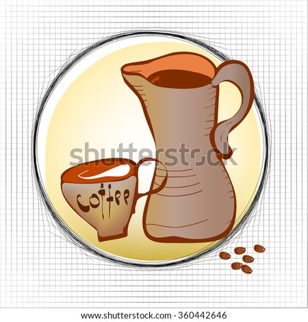 Coffee cup, beans and carafe - stock vector
