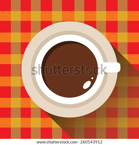 Coffee cup, checkered tablecloth, icon flat. Vector. Element for design - stock vector