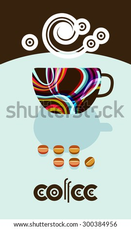 Coffee cup, coffee beans, steam over cup. Flyer, banner, menu cover design. 60s flat style. Wording for cafe logo - stock vector