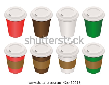 Coffee cup. Coffee package isolated on white background. Coffee with paper holder. Colour cups of coffee isometric style. Vector illustration of a cup of coffee