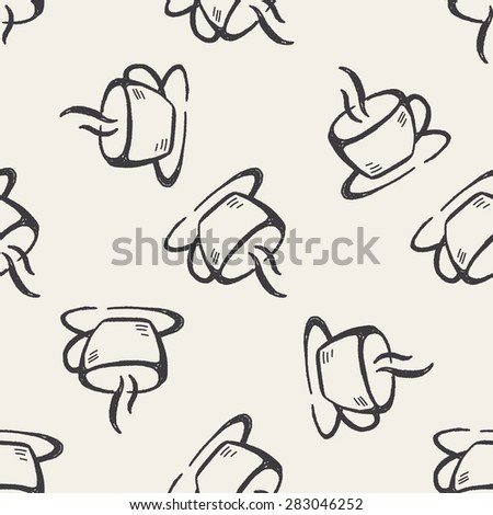 coffee cup doodle seamless pattern background