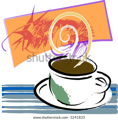 Coffee cup full of java in this grunge style illustration, with elements in vector layers.
