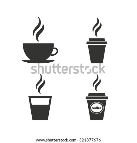 Coffee cup icon. Hot drinks glasses symbols. Take away or take-out tea beverage signs. Flat icons on white. Vector - stock vector