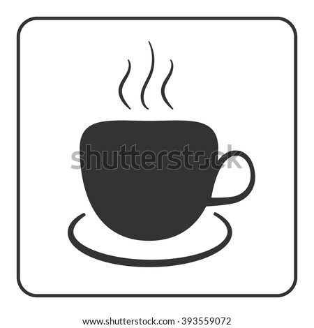 Coffee cup icon. Mug for cappuccino, espresso, mocha, latte, coffee, tee drinks. Symbol of hot beverage. Flat graphic style. Black silhouette isolated on white background in frame. Vector illustration - stock vector