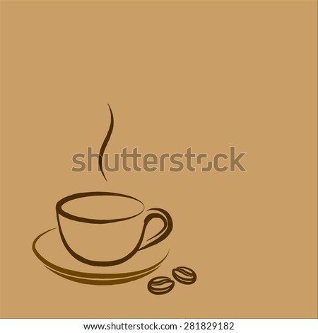 coffee cup icon on brown background, hand draw illustration