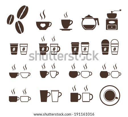 coffee cup icon set  - stock vector
