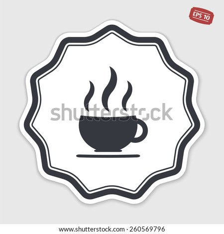 Coffee cup icon. Tea cup. Flat design style. Made vector illustration. Emblem or label with shadow. Emblem or label with shadow. - stock vector