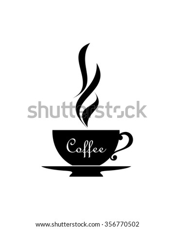 Coffee. Cup icon. Vector silhouette. - stock vector