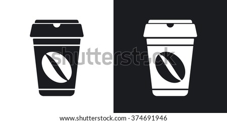 Coffee cup icon, vector. Two-tone version on black and white background - stock vector