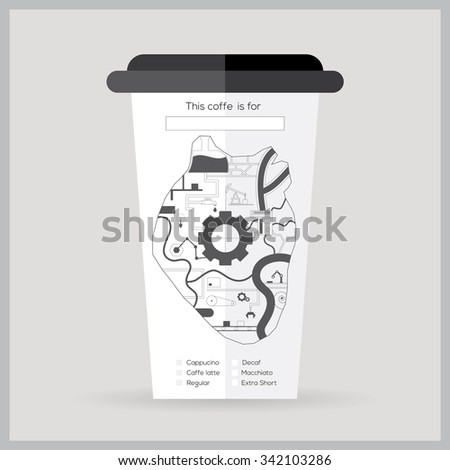 Coffee cup icon with coffee heart Vector illustration flat design - stock vector