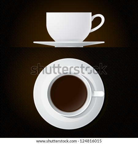 Coffee Cup Icons Top and Side View with Black Background
