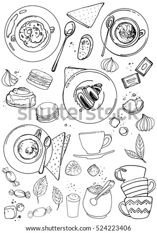 Coffee cup line drawing on a white background. Drink and sweets. Vector image of breakfast. Cup of coffee top view, bun, plate, napkin.