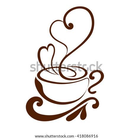 vector coffee cup coffee art lines stock vector 222157468