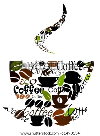 Coffee cup logo made of various captions, cups and beans. Vector illustration - stock vector