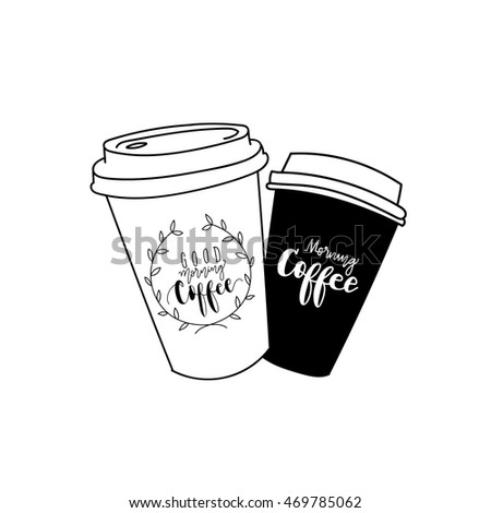 coffee cup logo, text design