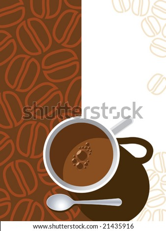 Coffee cup on a brown background with coffee beans. - stock vector