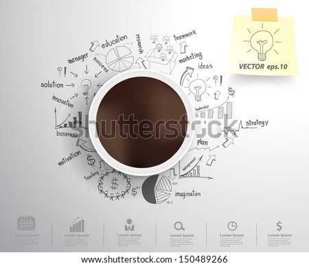 Coffee cup on drawing business strategy plan concept idea, Workflow layout, diagram, step up options, Vector illustration modern template design - stock vector