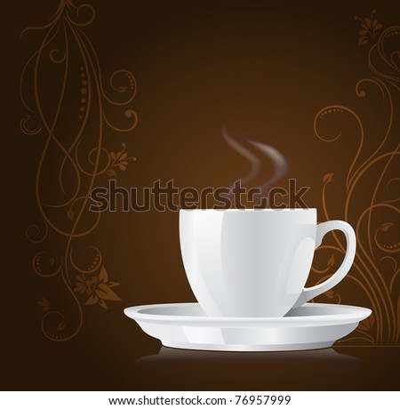 coffee cup on floral background - stock vector