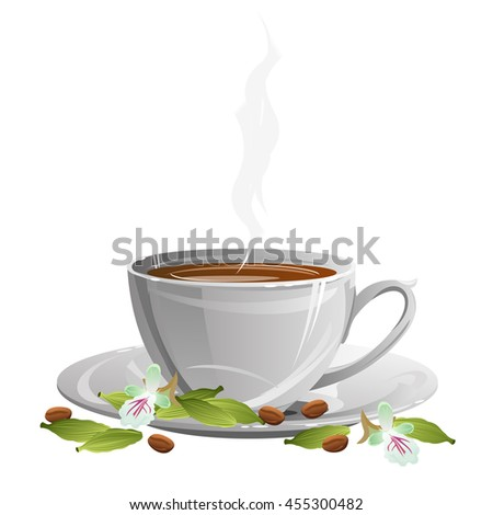 Coffee cup on saucer with coffee beans, cardamom pods and flowers. Vector illustration. - stock vector