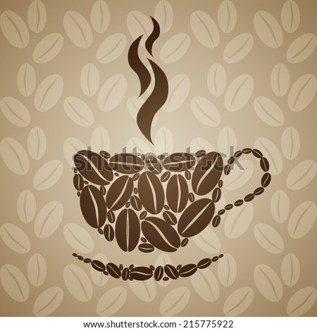 Coffee cup on seamless background with coffee beans. Vector illustration. - stock vector