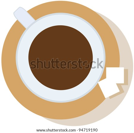 coffee cup on the saucer two lumps of sugar - stock vector