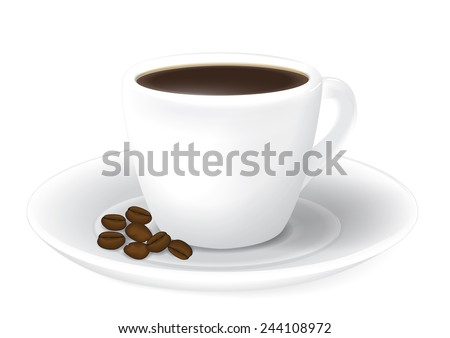 Coffee cup on white background - stock vector