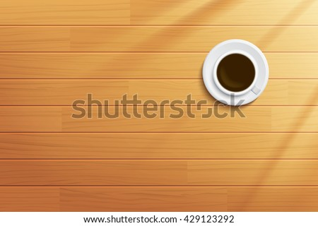 coffee cup on wooden table top view - stock vector