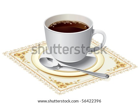Coffee cup on yellow cloth - stock vector