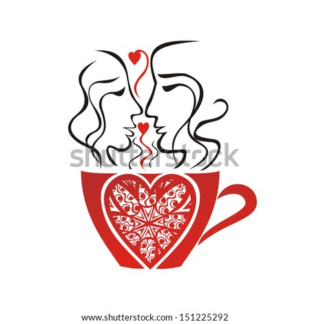 Coffee cup pair love heart valentines day card vector illustration - stock vector