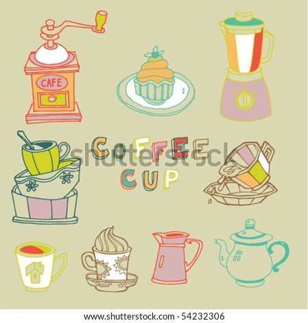coffee cup set - stock vector