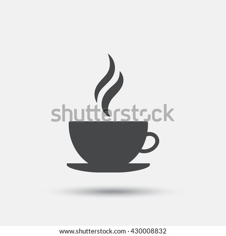 Coffee cup sign icon. Hot coffee button. Hot tea drink with steam. Flat coffee web icon on white background. Vector - stock vector