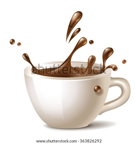 coffee cup splashing vector icon - stock vector
