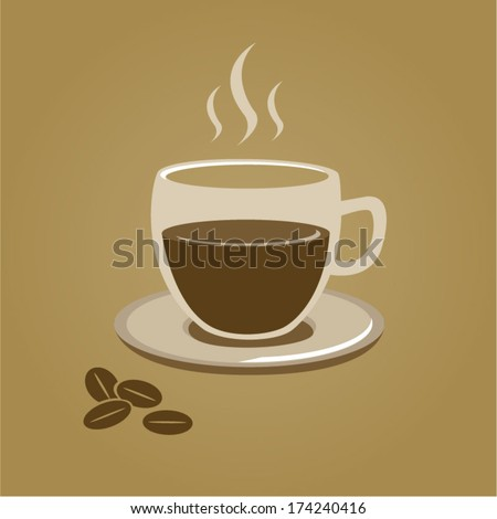 Coffee cup transparent with drink ,saucer and beans, steaming. Fully editable .eps 10 on different layers - stock vector