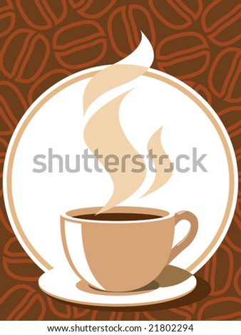 Coffee cup with aroma steam on a brown background with coffee beans.